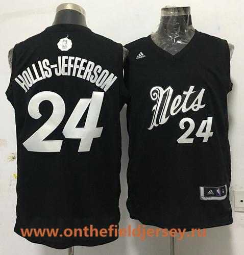 Men's Brooklyn Nets #24 Rondae Hollis-Jefferson adidas Black 2016 Christmas Day Stitched NBA Swingman Jersey