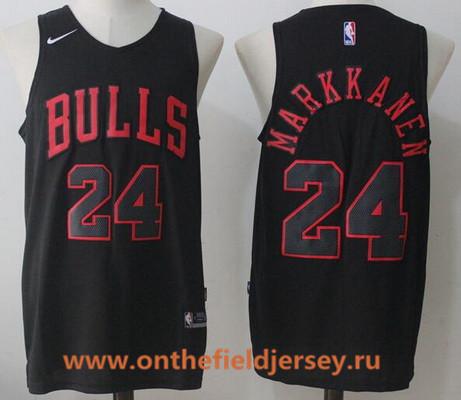 Men's Chicago Bulls #24 Lauri Markkanen All Black 2017-2018 Nike Swingman Stitched NBA Jersey