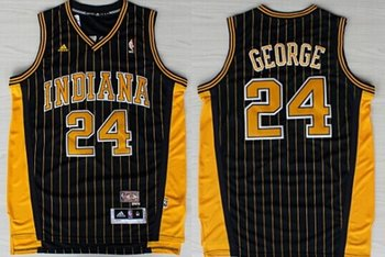 Indiana Pacers #24 Paul George Navy Blue Pinstripe Hardwood Classics Soul Swingman Throwback Jersey