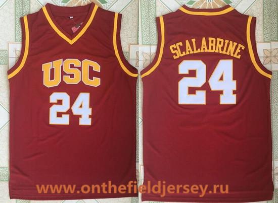 Men's USC Trojans #24 Brian Scalabrine Red College Basketball Retro Swingman Stitched NCAA Jersey