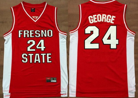 Men's Fresno State Bulldogs #24 Paul George Red College Basketball Swingman Jersey