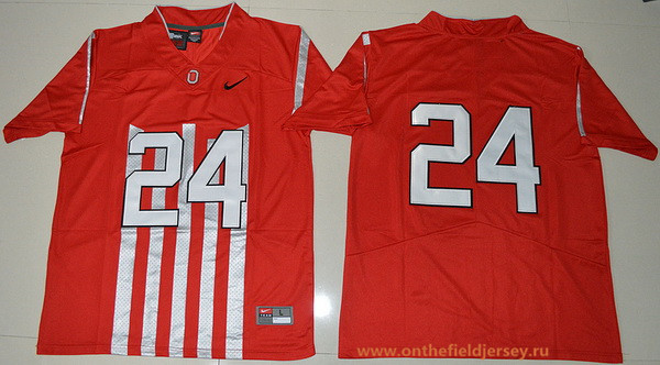Men's Ohio State Buckeyes #24 Malik Hooker 1917 Throwback Red Limited Stitched College Football Nike NCAA Jersey