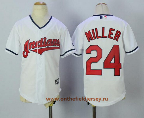 Youth Cleveland Indians #24 Andrew Miller White Home Stitched MLB Majestic Cool Base Jersey