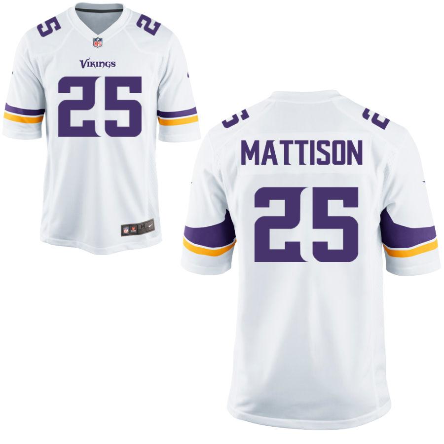 Men's Minnesota Vikings #25 Alexander Mattison White Road Stitched NFL Nike Game Jersey