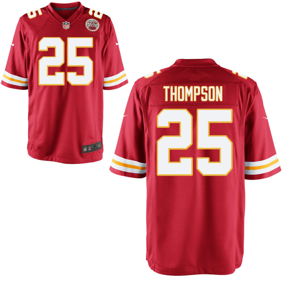 Men's Kansas City Chiefs #25 Darwin Thompson Red Stitched NFL Nike Game Jersey