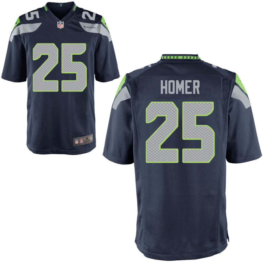 Men's Seattle Seahawks #25 Travis Homer Navy Blue Stitched NFL Nike Game Jersey