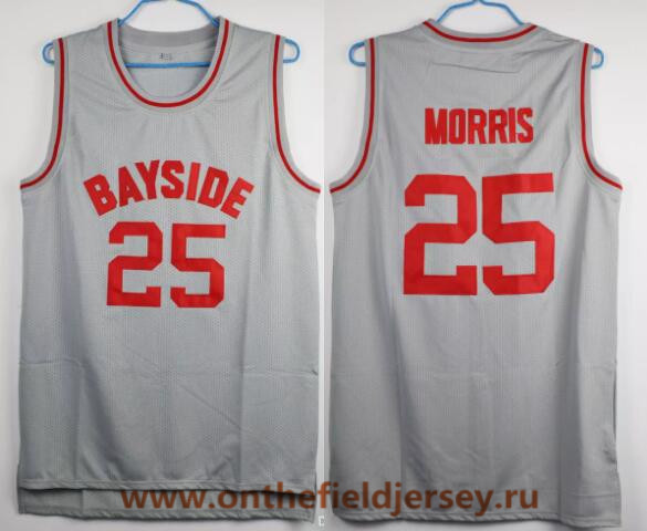 Men's Bayside Tigers #25 Zack Morris Gray Swingman Stitched Basketball Jersey The Movie Saved By The Bell Jerseys