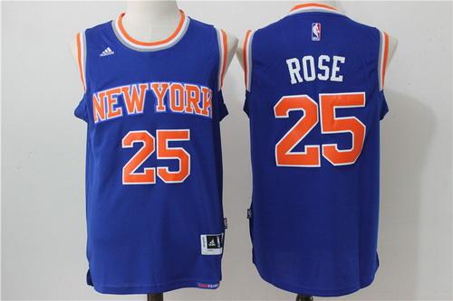 Men's New York Knicks #25 Derrick Rose Blue Revolution 30 Swingman Basketball Jersey