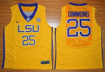 Men's LSU Tigers #25 Ben Simmons Gold College Basketball Nike Jersey