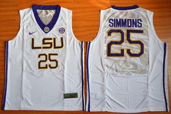 Men's LSU Tigers #25 Ben Simmons White College Basketball Nike Jersey