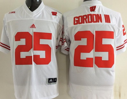 Men's Wisconsin Badgers #25 Golden Tate III White College Football adidas Jersey