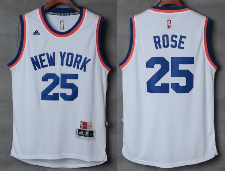 Men's New York Knicks #25 Derrick Rose White 2017 Retro Stitched NBA adidas Revolution 30 Swingman Jersey