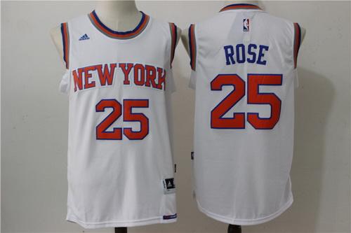 Men's New York Knicks #25 Derrick Rose White Revolution 30 Swingman Basketball Jersey