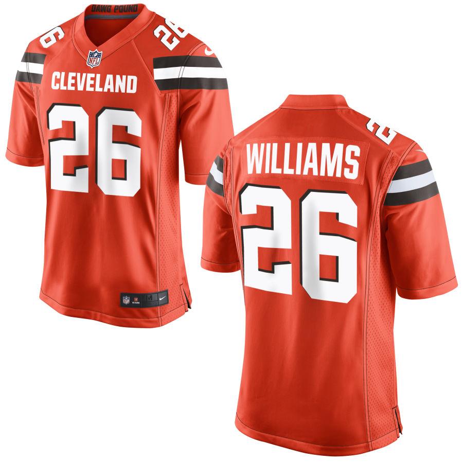 Men's Cleveland Browns #26 Greedy Williams Orange Stitched NFL Nike Game Jersey