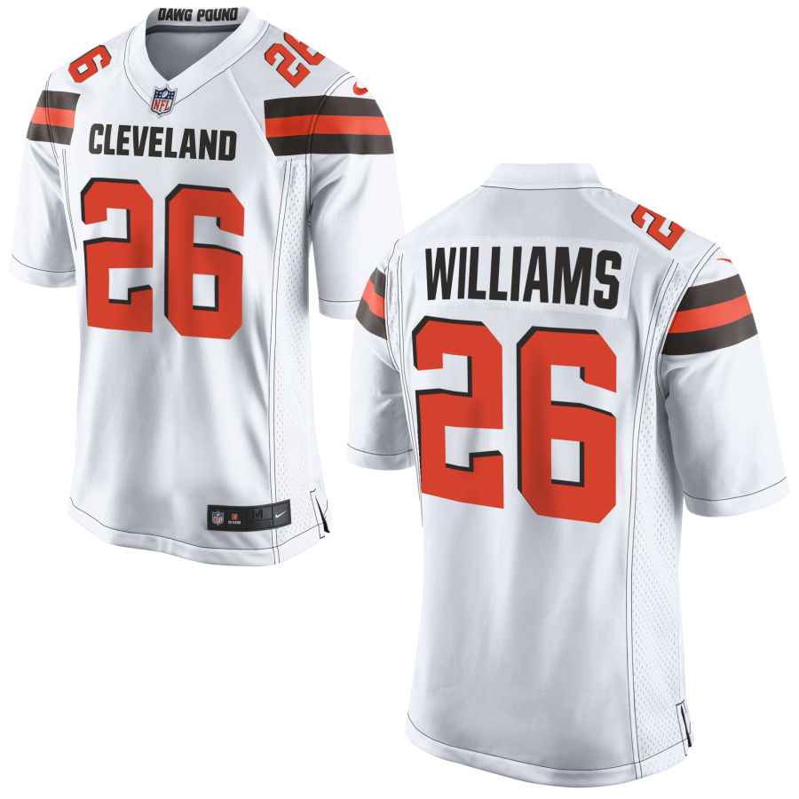 Men's Cleveland Browns #26 Greedy Williams White Stitched NFL Nike Game Jersey