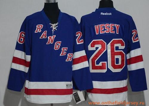 Men's New York Rangers #26 Jimmy Vesey Light Blue Home Stitched NHL Reebok Hockey Jersey