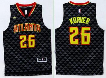 Men's Atlanta Hawks #26 Kyle Korver Revolution 30 Swingman 2015-16 New Black Jersey