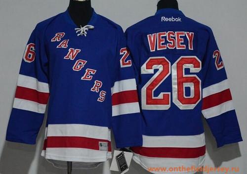 Youth New York Rangers #26 Jimmy Vesey Light Blue Home Stitched NHL Reebok Hockey Jersey