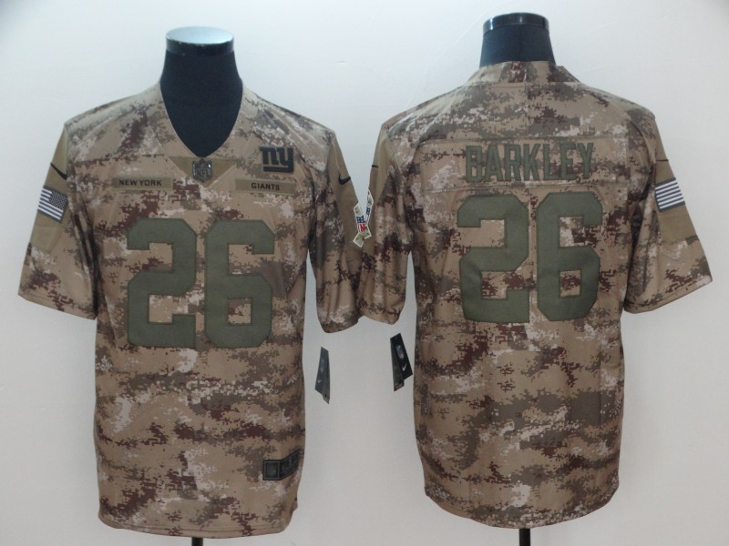 Men's New York Giants #26 Saquon Barkley Nike Camo 2018 Salute to Service Stitched NFL Limited Jersey