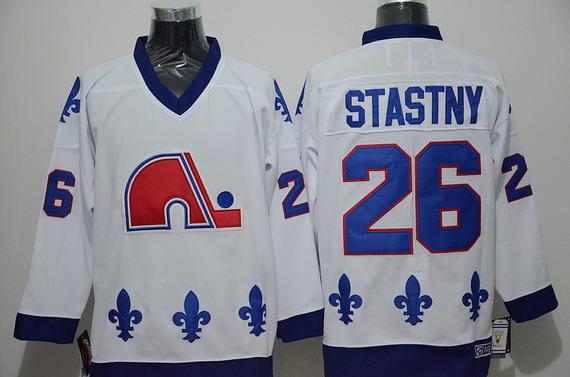 Men's Quebec Nordiques #26 Peter Stastny 1991-92 White CCM Vintage Throwback Jersey