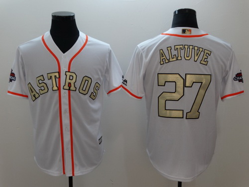 Men's Houston Astros #27 Jose Altuve White World Series Champions 2017 Gold Stitched MLB Majestic Flex Base Jersey