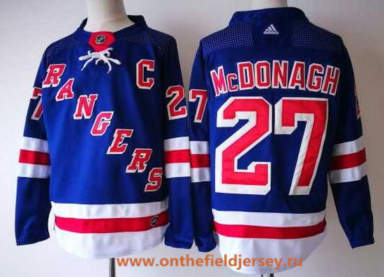 Men's New York Rangers #27 Ryan McDonagh Royal Blue Home 2017-2018 Adidas Hockey Stitched NHL Jersey