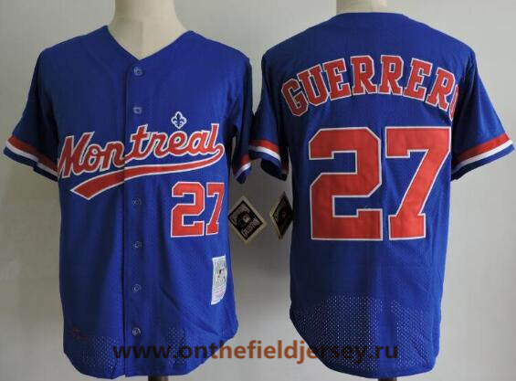 Men's Montreal Expos #27 Vladimir Guerrero Navy Blue Mesh BP 2000 Throwback Stitched MLB Majestic Cooperstown Collection Jersey