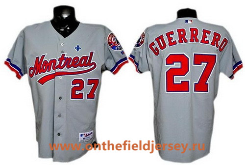 Men's Montreal Expos #27 Vladimir Guerrero Gray Road 2002 Throwback Stitched MLB Majestic Cooperstown Collection Jersey