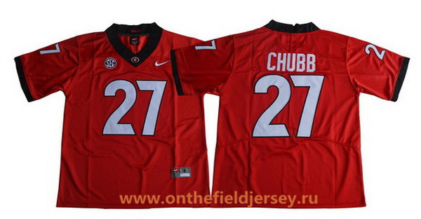 Men's Georgia Bulldogs #27 Nick Chubb Red Limited 2017 College Football Stitched Nike NCAA Jersey