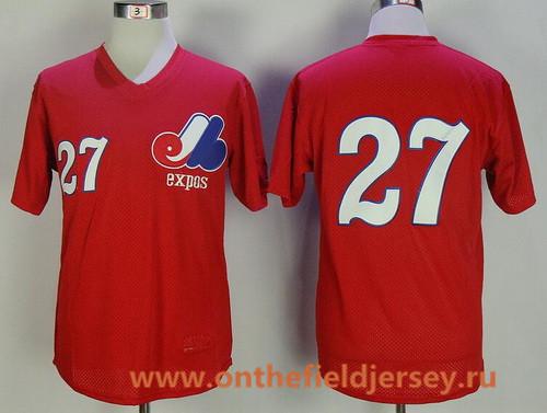 Men's Montreal Expos #27 Vladimir Guerrero Red Mesh Batting Practice Throwback Mitchell & Ness Baseball Jersey