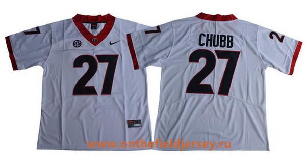 Men's Georgia Bulldogs #27 Nick Chubb White Limited 2017 College Football Stitched Nike NCAA Jersey