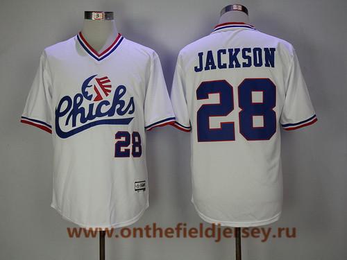 Men's 1986 Memphis Chicks Minor League #28 Bo Jackson White Vintage Stitched Baseball Jersey