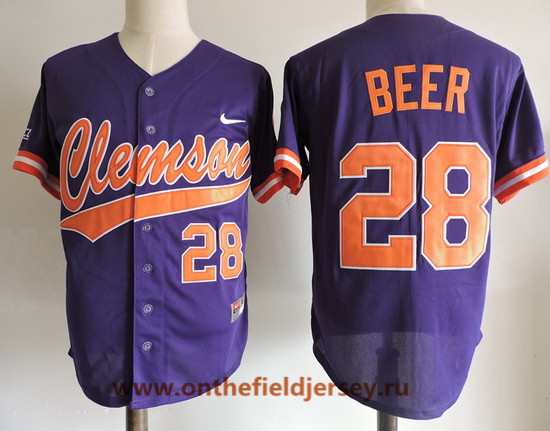 Men's Clemson Tigers #28 Seth Beer Purple College Baseball Stitched Nike NCAA Jersey