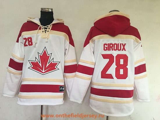 Men's Team Canada #28 Claude Giroux 2016 World Cup of Hockey White Stitched Old Time Hockey Hoodie