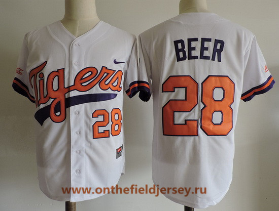 Men's Clemson Tigers #28 Seth Beer White College Baseball Stitched Nike NCAA Jersey