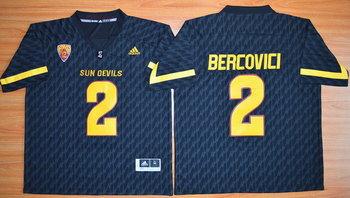 Men's Arizona State Sun Devils #2 Mike Bercovici Black Desert Ice 2015 College Football Jersey