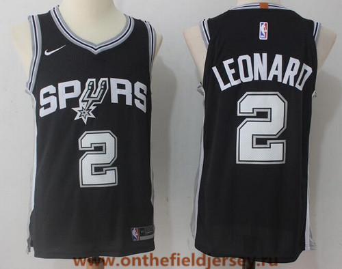 Men's San Antonio Spurs #2 Kawhi Leonard Black 2017-2018 Nike Swingman Stitched NBA Jersey