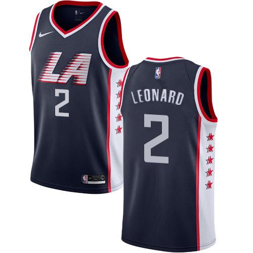 Men's Los Angeles Clippers #2 Kawhi Leonard Black LA City Edition Nike Swingman Stitched NBA Jersey
