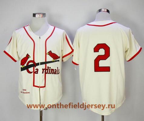 Men's St. Louis Cardinals #2 Red Schoendienst Cream Zipper 1946 Throwback Cooperstown Collection Stitched MLB Mitchell & Ness Jersey