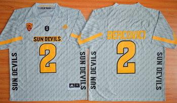 Men's Arizona State Sun Devils #2 Mike Bercovici Gray Desert Ice 2015 College Football Jersey