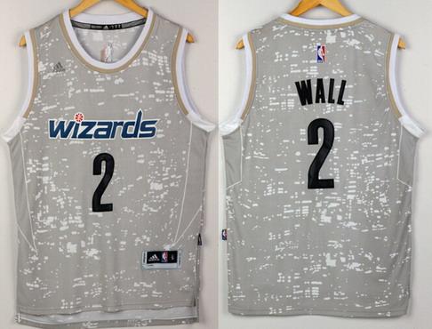 Men's Washington Wizards #2 John Wall adidas 2015 Gray City Lights Swingman Jersey