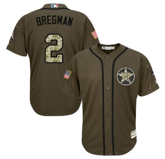 Men's Houston Astros #2 Alex Bregman Green Salute To Service Stitched MLB Majestic Cool Base Jersey