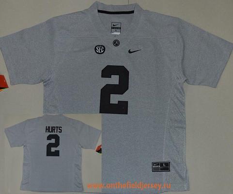 Women's Alabama Crimson Tide #2 Jalen Hurts Gridiron Gray II Limited Stitched College Football Nike NCAA Jersey