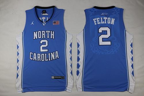 Men's North Carolina Tar Heels #2 Jalek Felton Light Blue Soul Swingman Basketball Jersey