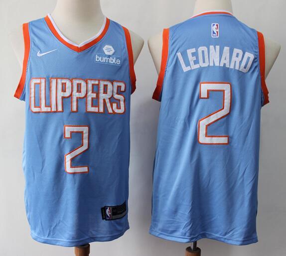 Men's Los Angeles Clippers #2 Kawhi Leonard Light Blue City Edition Nike Swingman Stitched NBA Jersey