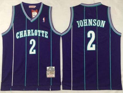 Men's Charlotte Hornets #2 Larry Johnson 1992-93 Purple Hardwood Classics Soul Swingman Throwback Jersey