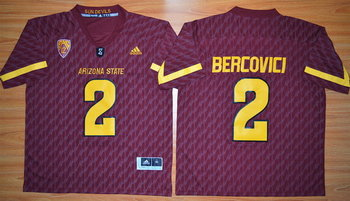 Men's Arizona State Sun Devils #2 Mike Bercovici Red Desert Ice 2015 College Football Jersey