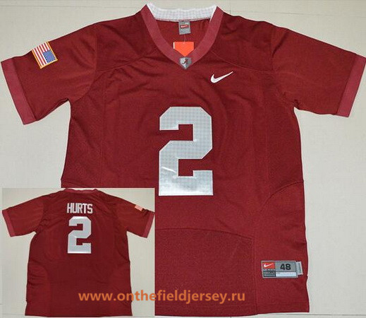 Men's Alabama Crimson Tide #2 Jalen Hurts Red 2016 Pro Combat Stitched College Football Nike NCAA Jersey