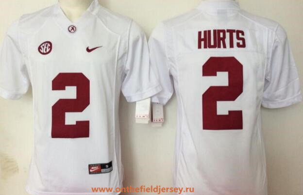 Men's Alabama Crimson Tide #2 Jalen Hurts White Limited Stitched College Football Nike NCAA Jersey