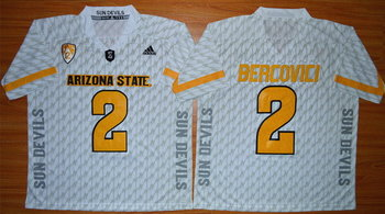 Men's Arizona State Sun Devils #2 Mike Bercovici White Desert Ice 2015 College Football Jersey